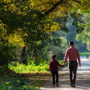 Father and Son autumn walk